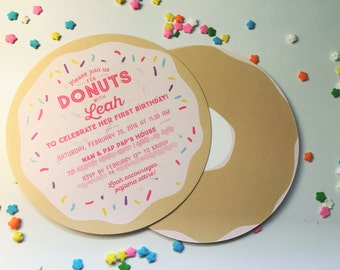 Sprinkle Donut Party Invitation - SET OF 10