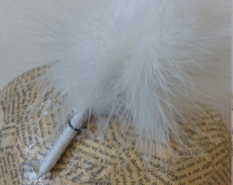 SALE Millinery Feathers - Marabout Feather Pom Pom  - Ivory
