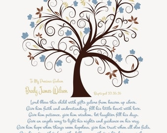 Baptism Gift For Boy-Baptism Gift From Godmother-Christening Gift-Godson-Grandson-Nephew-Son-Dedication Print-Lord Bless This Child Poem