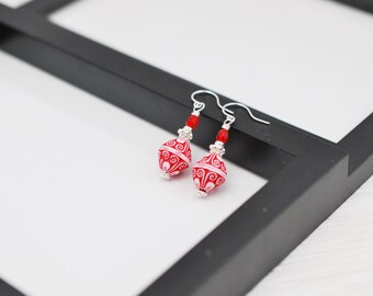 Red and White Earrings, Red Earrings, Red Beaded Earrings, Vintage Style Earrings, Red Drop Earrings, Valentines Day Earrings