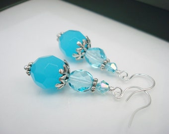 Aqua Blue Earrings, Aqua Blue Drop Earrings, Bright Blue Earrings, Silver and Blue, Blue Earrings, Beaded Earrings, Free Shipping