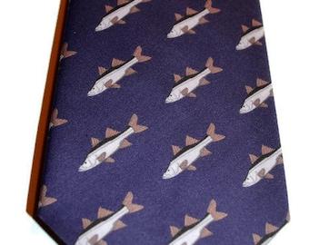 Men's Fish Necktie, Snook Tie, Blue Tie, Southern Tie, Preppy Tie, Coastal Tie, Groomsmen Gifts, Fathers Day Gift, Unique Tie, Organic Tie