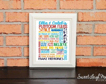 Playroom Rules – Personalized Sign - Add Names - Children's Art – Playroom Décor – Kids Décor – Primary Colors