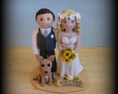 Wedding Cake Topper, Custom Wedding Topper, Bride, Groom and Dog, Anniversary Cake Topper, Personalized, Polymer Clay, Keepsake