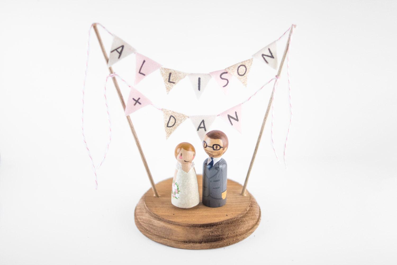 Custom Wedding Cake Topper Name cake topper Hand painted