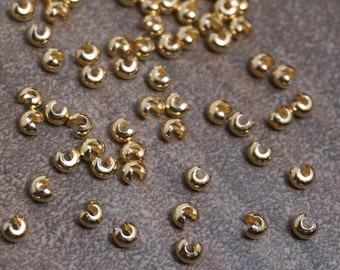 Crimp Bead Covers, 3mm gold plated knot cover (359FD)