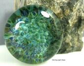 25mm Lampwork Cabochon - Deep Sea Green - Handmade Glass Jewelry Supply