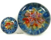 23mm Rainbow Pixie Glass Cabochon Bead, Boro Lampwork  - Large Round Focal- Frit Implosion
