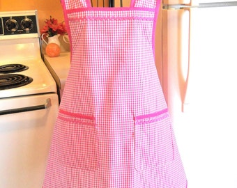 Old Fashioned Grandma Style Pink Gingham Apron