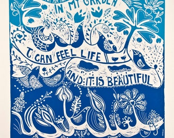 linocut, In My Garden, blue, printmaking, fish, birds, flowers, inspirational art, home interior, blue and white, quote, garden, gardener