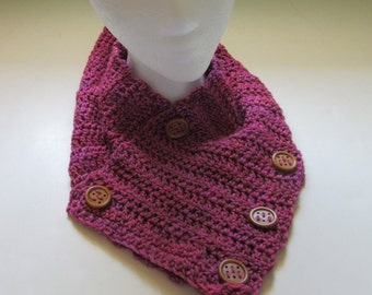 Fuchsia Pink Scarf, Womens, Hand Died Wool, Super, Woolen, Birthday Gift, Chic, Fashion Cowl, Crochet, Sexy Wrap, Artisan yarn, Buttons, New
