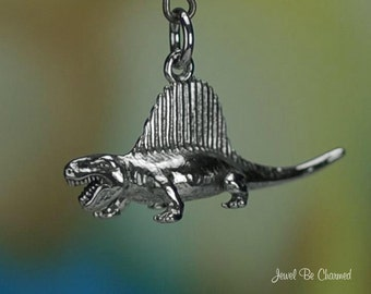 Sterling Silver Dimetrodon Charm Prehistoric Animal 3D Solid .925
