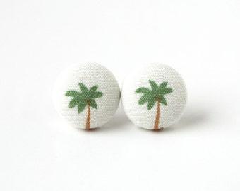 Palm tree button earrings - beach fabric earrings - summer stud earrings - white green