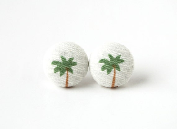 Palm tree button earrings - beach fabric earrings - summer stud earrings - white green