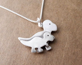 Mother and Baby T-Rex Necklace, Mom and Baby Dinosaur, New Mom Necklace, Mother and Child, Fine Silver, Sterling Silver Chain, Made To Order