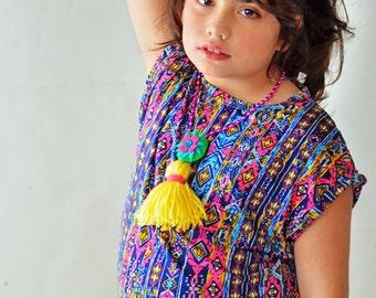 Girl's cap sleeve tribal t shirt