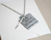 All Good Things are Wild and Free, Quote necklace, Free necklace, Arrow necklace, Silver arrow necklace, faceted glass necklace, Quote charm