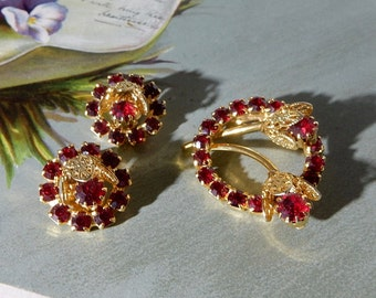 Vintage RED Rhinestone & Gold Filigree Brooch and Earrings Circle Pin