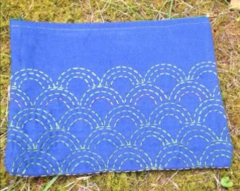 Blue Wave Sashiko Clutch