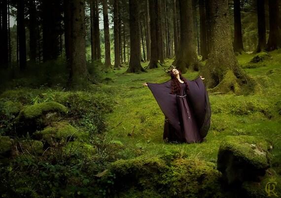 Medieval dress costume celtic medieval dark purple elven dress long sleeves