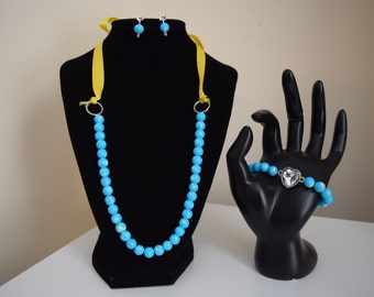 Turquoise and yellow necklace, bracelet, and earrings set