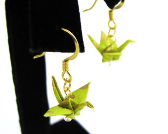 """Tiny Origami Crane Earrings Spring Green and Gold 3/4"""""""