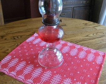 Handwoven Christmas Table Mat, Table Decor, Red and White, Dresser Scarf, Christmas Decor, Swedish Runner, Table Linens, Holiday Placemat
