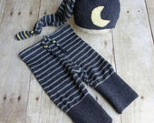 Newborn Boy Photo Prop Hat / Pant Set - Upcycled Photo Prop- Newborn Sleepy Cap with Moon - Navy Blue - READY TO SHIP