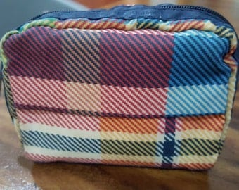 """Vintage 90s LeSportsac Cosmetics Pouch in Blue Red Yellow Checks - Travel Pouch 5.5"""" x 4.5"""" x 2 """" - Made in USA - it's well-loved"""