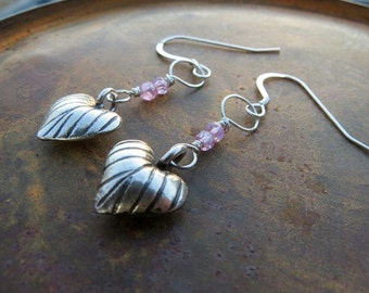 pink zircon earrings . SPACE and TIME . Karen Hill Tribe earrings . Zodiac earrings . silver earrings . Valentine earrings . pink earrings