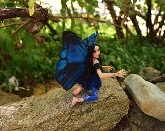 """Morpho Butterfly Fairy, OOAK Faery Sculpture, Blue Butterfly Faerie, """"Lazuli"""""""