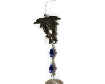 Dolphins with Crystal Ornament Pewter Hanging Beaded Ornament Feng Shui Sparkles Blue Dolphin