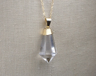 Faceted Teardrop Point Clear Crystal Quartz Pendant Long Gold Necklace, Electroplated with 14K Gold, 30 Inch Chain Handmade OOAK 450101