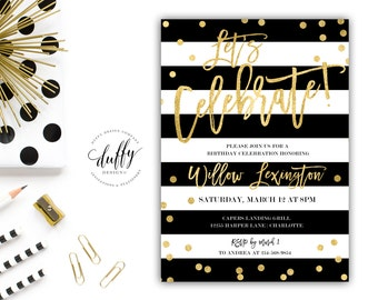 Black & Gold Birthday Party Invitation, Let's Celebrate Birthday Invite, Adult Birthday Party Invitation, Birthday Party Invitation, 5x7