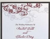 Fanciful Roses Rhinestone Wedding Fan Program **Front and Back Sides Fully Customized**