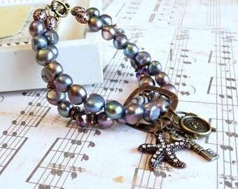 Convertible Charm Bracelet in Peacock Pearl, Fresh Water Pearl Bracelet