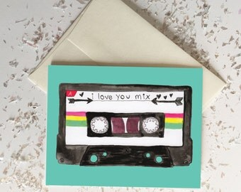 I Love You Mix Tape Card // Blank Inside // Hipster Love Card // Spring Summer Birthday Gift