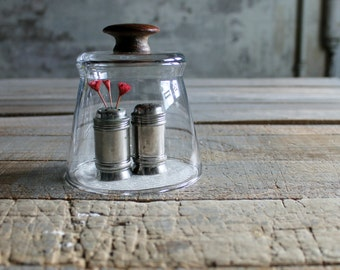 Glass Cloche with Vintage Wooden Knob - Letter B