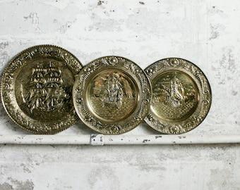 3 Vintage Metal Embossed Spanish Galleon Plates / Wallhangings