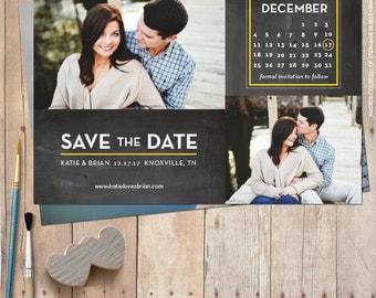 Save the date, save the date magnet, save the date cards, photo save the date, rustic save the date, calendar save the date -Double Calendar