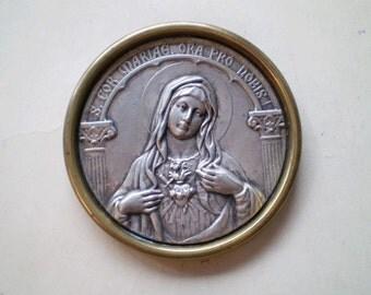 S. Cor Mariae - Vintage Travel Shrine - Framed Table Altar - Round Plaque - Sacred Heart of Mary - Catholic - Latin