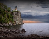 Split Rock Lighthouse at Sunrise in Northern Minnesota on the Lake Superior shoreline No.4390- A Fine Art Nautical Seascape Photograph