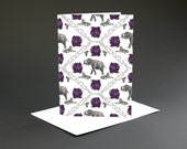 Elephant Illustrated Card // Blank Card - Elephant Print - Birthday card for Her - Birthday card Mum - Birthday Card Friend