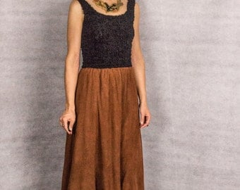 Western Suede Rust Color A Line Panel Skirt/// size small