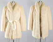 Vintage Ivory White TOURMALINE MINK FOX Fur Coat Jacket Cocktail Evening Formal Party Glam Crystal Arctic Cream Fox Fur Collar L Large Xl
