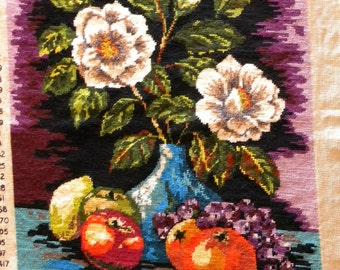 Completed Tapestry - Fruit and Flowers -  Vintage  Penelope  1970's
