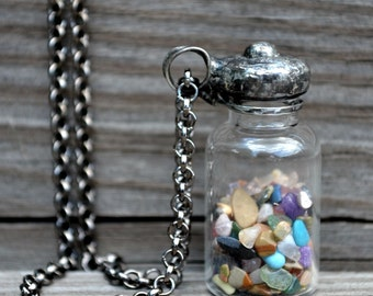 Bottle Necklace, Glass Apothecary Bottle, Tumbled Gemstones, Glass Bottle Necklace, Handmade Bottle Necklace, Stone Jewelry, Glass Urn 2554