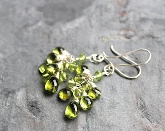 Peridot Earrings Cluster Grape Green Gemstones Cluster Sterling Silver, august birthstone