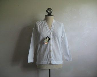 Vintage White 70s Cardigan NOS Trevira 1970s Poly Knit Sweater Med-Lrg