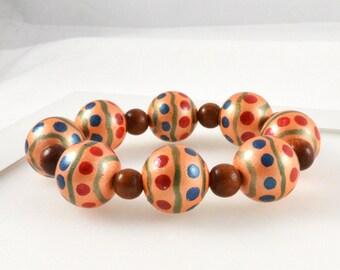 Wooden Bracelet, Coral Bracelet, Bead Bracelet, Stretch Bracelet, Chunky Bracelet, Orange Bracelet, Australian Jewellery, FREE SHIPPING